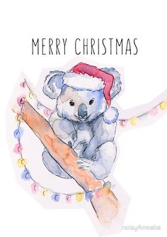 """Koala - Christmas Card"" Greeting Cards by noisyAmoeba Watercolor Christmas Cards, Christmas Drawing, Watercolor Cards, Christmas Greeting Cards, Christmas Art, Christmas Greetings, Christmas Paintings, Christmas Colors, Christmas Decorations Australian"