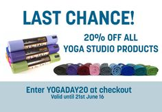 20% OFF All Yoga Studio Products. Offer Ends 21st June