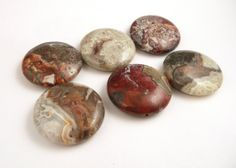 Crazy Lace Agate Beads // Large Stone Disc Beads by CastoGemstones, $12.00