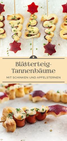 Blätterteig-Tannenbäume mit Schinken und Apfel-Sternen – Eine kleine Prise Anna A small pre-Christmas eye-catcher are the puff pastry fir trees with ham and apple stars. Crunchy finger food and a nice companion for soups and salads. Puff Pastry Recipes, Puff Pastries, Fir Tree, Pumpkin Spice Cupcakes, Sweet And Salty, Soup And Salad, Finger Foods, Healthy Snacks, Snack Recipes