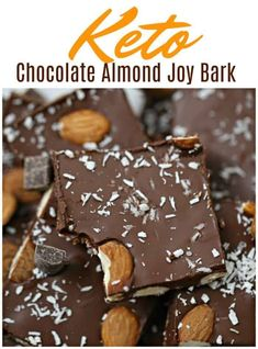 Keto Chocolate Almond Joy Bark! Hey chocoholics, can you hear me? Here's an indulgent and sinfully tempting chocolate bark that is is sugar-free, low-carb, healthy, no-bake and super easy to make with only 4 ingredients!Dreamy, delish chocolate almond joy bark. #vegan #keto #chocolate #sugarfree #ketotreat Vegan Dessert Recipes, Fun Desserts, Delicious Desserts, Snack Recipes, Nut Recipes, Keto Snacks, Kitchen Recipes, Copycat Recipes, Easy Recipes