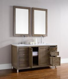 "Chicago 60"", James Martin White Washed Walnut Transitional Bathroom Vanity, double sink │ The Vanity Store Canada"