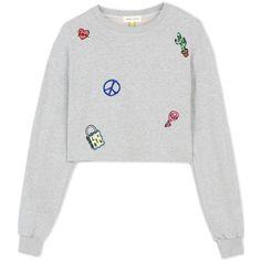 Steve J & Yoni P Sweatshirt (€255) ❤ liked on Polyvore featuring tops, hoodies, sweatshirts, light grey, white top, white cotton tops, long sleeve sweatshirt, white cotton sweatshirt and embroidered sweatshirts