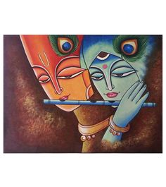 Multicoloured #Hand #Painted Velvet #Painting Featuring #Lord #Krishna at #Indianroots