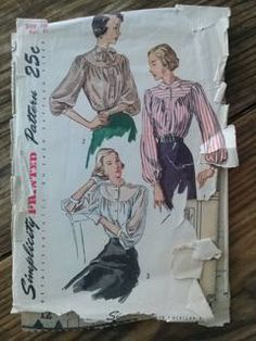 Check out this item in my Etsy shop https://www.etsy.com/listing/244743293/vintage-1940s-pattern-blouse-simplicity