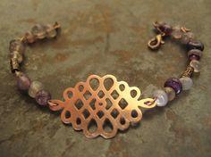 Copper Celtic Knot Bracelet with amethyst by TekhubaCraft on Etsy