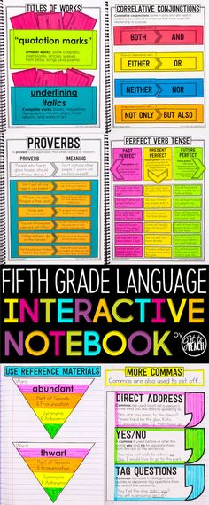 Fifth Grade Language Interactive Notebook. Cover all Common Core Language standards for Grade in an engaging and memorable way. 5th Grade Grammar, 5th Grade Ela, Teaching 5th Grade, 5th Grade Classroom, Teaching Grammar, Teaching Language Arts, Teaching Writing, Speech And Language, Art Classroom