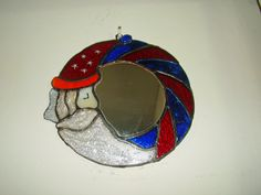 Santa Claus stained glass mirror 20cm