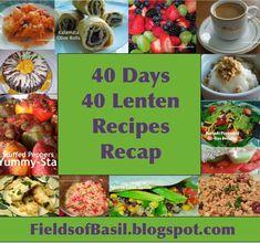 Fields of Basil: 40 Lenten Recipes: The Recap Greek Recipes, Dog Food Recipes, Vegan Recipes, Meatless Recipes, Four Bean Salad, Stuffed Grape Leaves, Roasted Red Pepper Sauce, Veggie Casserole, Berry Muffins