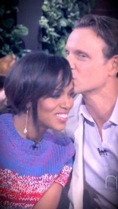 Tony Goldwyn and Kerry Washington from 'Scandal'....I honestly think he has a 'thing' for her.