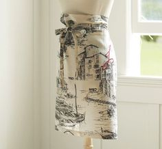 FISHING VILLAGE TOILE HALF APRON - i want it with an H monogrammed on it.