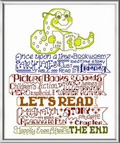Lets Read to Kids cross stitch pattern designed by Ursula Michael.