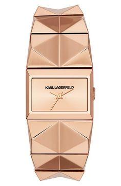 KARL LAGERFELD 'Perspektive' Pyramid Bracelet Watch, 27mm x 20mm | Nordstrom