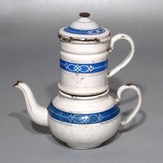 Vintage French EnamelwareEnamel Coffee Pot, White & Blue with Gilding, Stamped