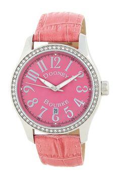 Dooney & Bourke Women's Crystal Classic Leather Strap Watch on HauteLook