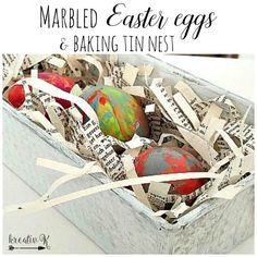 Marbled Easter egg & baking tin nest/kreativk.net