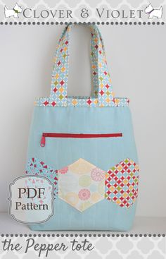 The Pepper Tote Bag - Free PDF Sewing Pattern from Clover and Violet