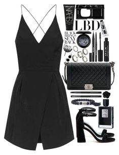 """""""bulletproof in black like a funeral"""" by bluemagicocean ❤ liked on Polyvore featuring Topshop, Chanel, MAC Cosmetics, Stila, Stuart Weitzman, NARS Cosmetics, Kilian, Japonesque and Bling Jewelry"""