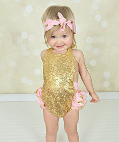 Look what I found on #zulily! Gold & Pink Sequin Ruffle Bubble Romper & Headband - Infant #zulilyfinds