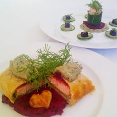 Salmon Wellington with beetroot-lentil puree and lightly pickled, mousse-filled cucumber, a Jackie Buss creation! #freshlyblogged #recipe #picknpay