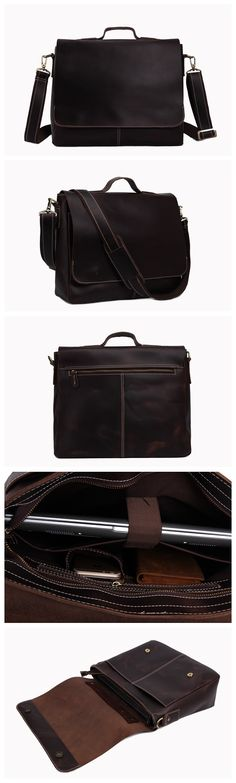 Natural Leather Flapover Men's Briefcase with Shoulder Strap