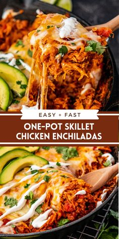 This easy Chicken Skillet Enchiladas recipe is about as fast as enchiladas can get, but still big on flavor and lots of cheesy goodness! #SkilletEnchiladas #Enchiladas #ChickenEnchiladas #EasyDinner #EasyDinnerIdea #MexicanFoodRecipes