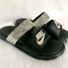 Your place to buy and sell all things handmade Nike Benassi Duo, Nike Flip Flops, Beach Sandals, Black Crystals, Black Nikes, Buy And Sell, Bling, Stuff To Buy, Etsy