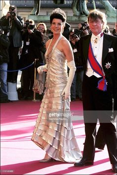 Wedding of Crown Prince Frederik and Miss Mary Elisabeth Donaldson: Arrivals for the gala performance in the Royal theatre in Copenhagen, Denmark on May 13, 2004 - Princess Caroline of Monaco and Ernst August Von Hanover.