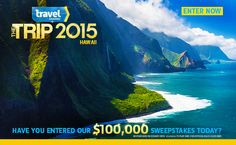 Enter every day for a chance to win a $100,000 vacation, If you win take me with you!!