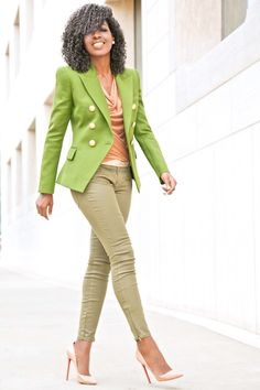 Style Pantry | Olive Double Breasted Blazer + Cowl Neck Blouse + Coated jeans