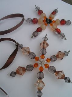 Hand made star beaded Christmas ornaments  set of by LeeliaDesigns, $4.00