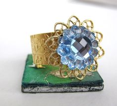 Flower Ring Vintage Rhinestone Sapphire Blue by BumbershootDesigns, $19.00