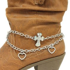 Cowgirls Fashion Boot Jewelry Boot Bling Silver Rhinestone Cross available at www.CowgirlsFashion.com