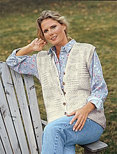 Free Knitting Pattern 934 Knitted Long Patchwork Textured Vest : Lion Brand Yarn Company
