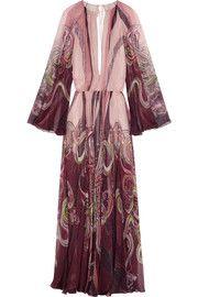 Roberto CavalliOpen-back printed silk-chiffon gown