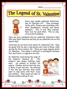 The Legend of St. Valentine:  Reading, Vocabulary and much more