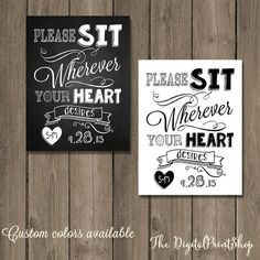 Sit Wherever No Seating Plan Rustic Shabby By Digitalprint