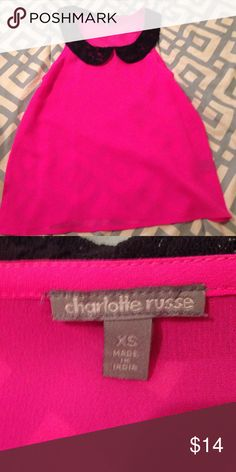 Hot pink top With a black lace peter pan collar, an gorgeous color, it will look amazing with a blazer and some black boot!😍LOVE Charlotte Russe Tops