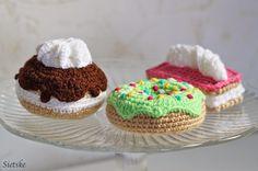 Sietske's Hobby's:, #haken, gratis patroon, Nederlands, gebakjes, moorkop, feest, verjaardag, voedsel, eten, amigurumi