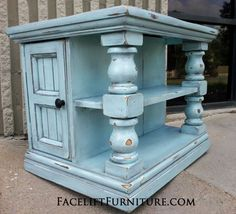 Chunky End Table distressed Robin's Egg Blue with Black Glaze. Shelves and storage area behind double doors. From Facelift Furniture's Robin's Egg Blue Furniture collection. Redo Furniture, Furniture Design Modern, Funky Furniture, End Tables, Painted Furniture, Furniture, Repurposed Decor, Diy End Tables, Painted Table