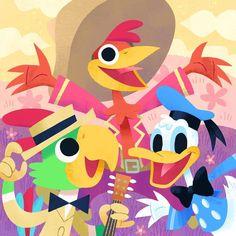 Donald, Panchito, and José: The Three Caballeros! Happy Anniversary to these three happy chappies Disney Magic, Walt Disney, Pixar, Disney Birds, Happy 75th Birthday, Princess Toadstool, Anthology Film, Three Caballeros, Disney Rooms
