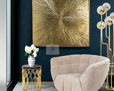 """Original Large Abstract Painting Abstract Gold Painting """"Rays"""" Gold Leaf Texture Wall Art Oil Painting On Canvas Modern Art by Julia Kotenko Decor Interior Design, Interior Decorating, Gold Interior, Simple Interior, Luxury Interior, Country Interior, Design Interiors, Modern Interiors, Kitchen Interior"""