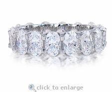 """Cubic Zirconia Oval U Shape Prong Set Eternity Band in 14K White Gold by Ziamond. The Scalloped Oval Eternity Band features .50 carat 6x4mm oval cubic zirconia stones in a shared """"U"""" shape prong setting. $1495 #ziamond #cubiczirconia #cz #eternity #bands #wedding #jewelry #oval"""
