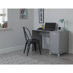 Argos Home Loft Locker Desk - Grey Metal Name Tags, College Essentials, Grey Desk, Kid Desk, Bedside Cabinet, Put Together, Surface Area, Argos, Desk Chair
