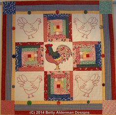 A Betty Alderman Design available from The Pattern Peddlers at http://thepatternpeddlers.com. Redwork, applique and a log cabin block. Easy peasy.