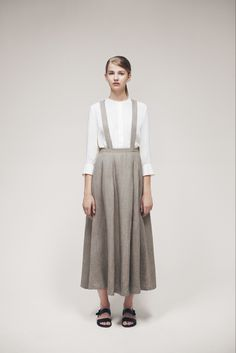 Samuji Spring 2015 RTW - Look 44 - village-y in the best way. natural linen full ankle-length skirt cut on the bias and suspenders, with pristine white blouse