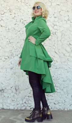Extravagant taffeta jacket with playful flounces that add romance and a touch of classy timeless style. Very soft at touch and extremely comfortable, this jacket is perfect for spring and the bright green and its joyful flounces will definitely steal the spotlight. Care instructions: Wash at 30 degrees. The model in the picture is size S.  Can be made in ALL SIZES.  If you have any other specific requirements, do not hesitate to contact me!  I DO NOT CHARGE EXTRA MONEY for custom made…