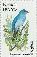 Nevada Stamp.  Mountain Bluebird.