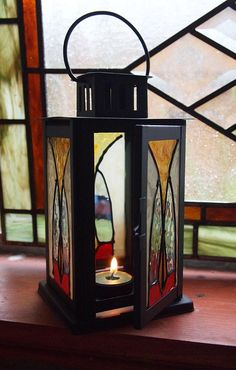 Faux stained glass candle holder tealight lantern by CatsMeowArt, $38.00