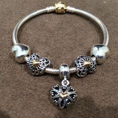 PANDORA Two Tone Bracelet with Pretty Heart Themed Charms.